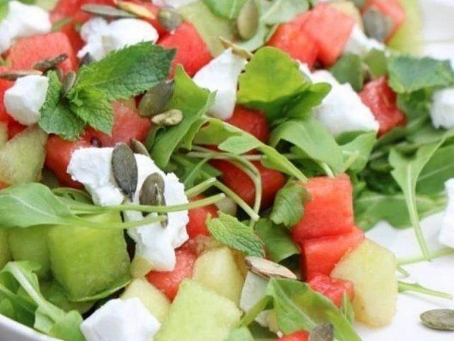 Watermeloen-fetakaas-munt
